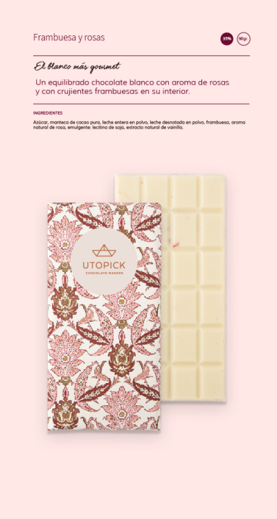Chocolate Blanco Frambuesa-Rosas UTOPICK